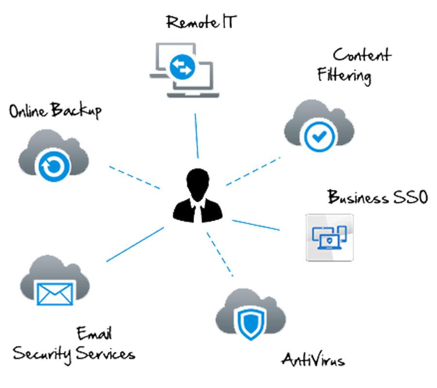 Managed Services AntiVirus, Content Filtering, Business SSO, AntiSpam, Online Backup